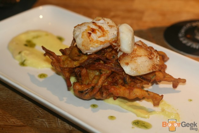 Cod cheeks, curried cauliflower puree and red onion bhaji with mango chutney